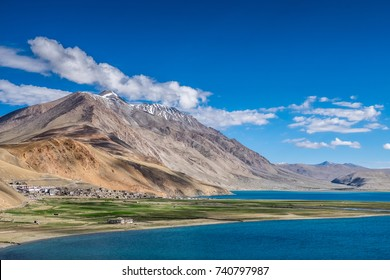 Landscape around Tso Moriri Lake located at Changtang plateau in north of Leh, Ladakh, India