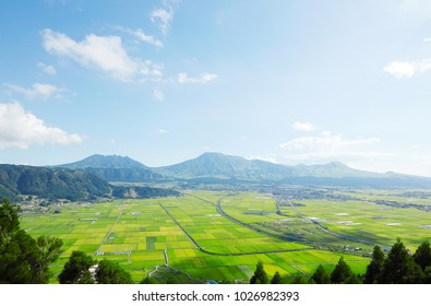 landscape of Aso area in Japan