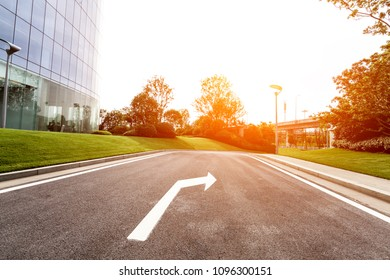 Landscape and asphalt pavement