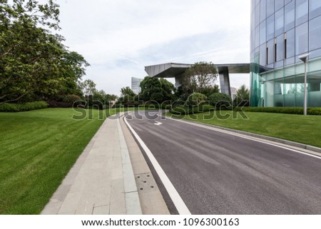 Landscape and asphalt pavement