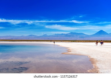Landscape in Atacama desert, Salt Lake, Chile. Copy space for text