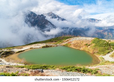 Landscape of Autumn Fall of Hakuba Valley and lake in Nagano Chubu Japan