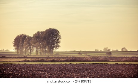 Landscape. Autumn farm field at the sunset. Filtered photo