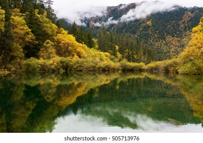 Landscape of autumn forest and it's reflection in the lake, China