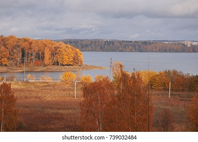 Landscape, autumn lake