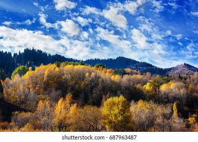 Landscape with autumn mountains in Medeo, Kazakhstan