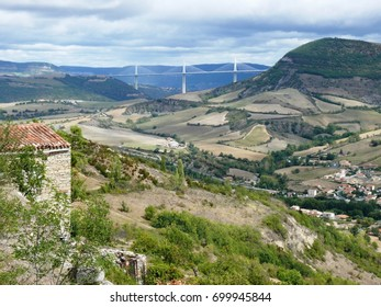 Landscape of the Aveyron with the viaduct of Millau in bottom of valley. la France