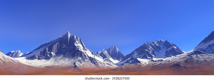 Landscape background with  snow-capped peaks of mountains against a blue sky.