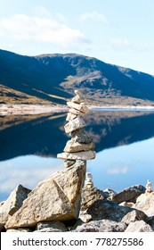 Landscape with balanced rocks in stack at beautiful scottish wild mountains and lake with reflection background. Panoramic view. Loch Cluanie fort William. Scotland. Uk. Vibrant colored summertime
