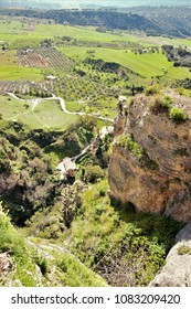 Landscape from  the balcony of the mirador of the city of Ronda, Málaga, Andalucía, Spain,