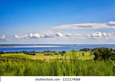 Landscape and Baltic Sea with clouds on the island Hiddensee. Panorama of Hiddensee.