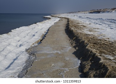 Landscape of Baltic Sea coast in early spring near Nida Town, Curonian Spit, Lithuania (Curonian Spit National Park), March 2018