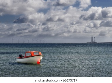 Landscape in the Baltic sea with little boat - Nyborg, Denmark, Scandinavia