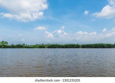 Landscape of the Bang Pakong River in Chachoengsao, Bangkok.