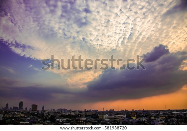 Landscape Bangkok city in beautiful sky