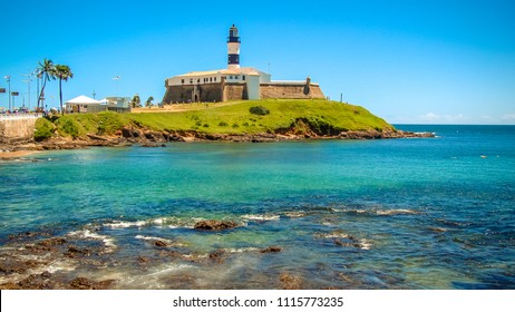 Landscape of Barra with lighthouse in summer afternoon in Salvador Bahia Brazil