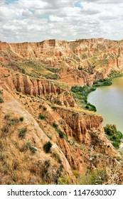 landscape of Barrancas de Burujón, Toledo, Spain, the cliffs and gorges of the River Tagus,The ravines of Burujon, Toledo, Spain, canyons,  landscape of Castilla La Mancha,