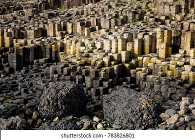 Landscape with Basalt or Volcanic Rock Formations