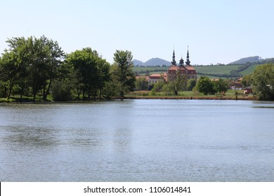 Landscape with Basilica of the Assumption of the Virgin Mary and St. Cyril and Methodius in Velehrad, Czech republic