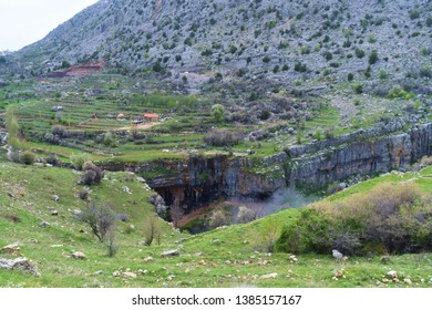 Landscape of batara gorge sinkhole in Mount Lebanon, Lebanon