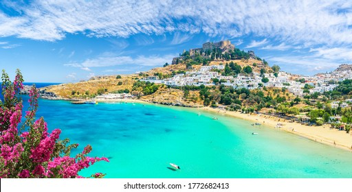 Landscape with beach and castle at Lindos village of  Rhodes, Greece