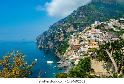 Landscape of beach and colorful buildings  in Positano town  at  Amalfi Coast, Italy.