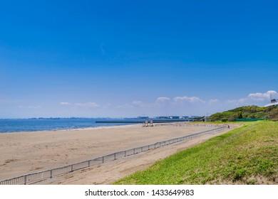 Landscape of the beach of Makuhari. Mihama, Chiba, Japan.