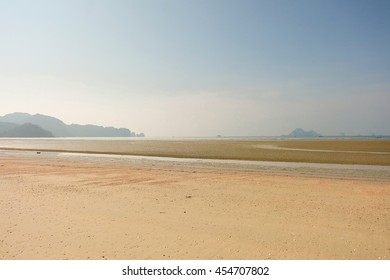 Landscape beach and mountain with sky.