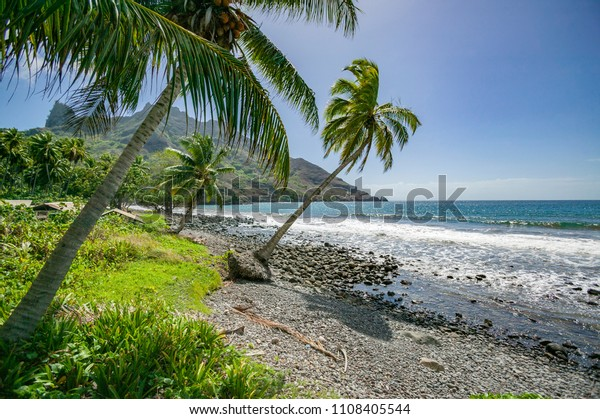 Landscape with Beach and mountains on Hiva Oa Island, Marquesas Islands, French Polynesia