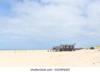 Landscape with beach pavilion at Dutch island Terschelling