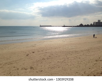 landscape of beach of sables d'Olonne in france