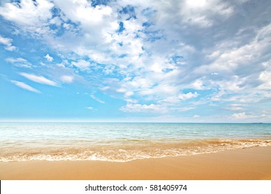 Landscape of beach and sea with blue sky