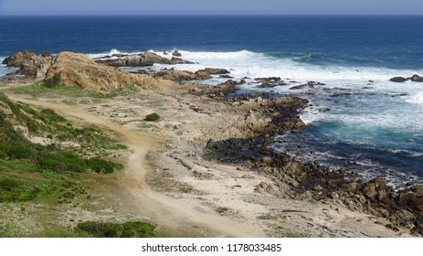 landscape of a beach, seaside, cliff and nature