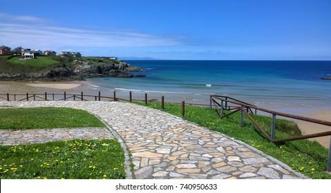 Landscape of the beach in Tapia de Casariego, Asturias - Spain