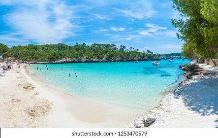 Landscape with beach and turquoise sea water on Cala Mondrago, Majorca island, Spain