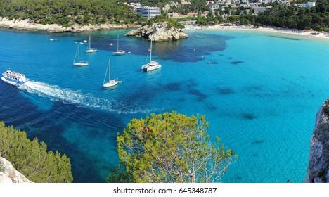 Landscape of the beautiful bay of Cala Galdana - Minorca - Spain