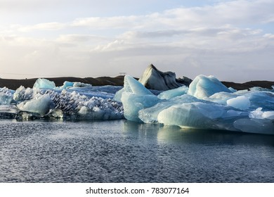 Landscape beautiful blue icebergs in Jokulsarlon glacial lagoon.
