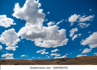 Landscape with beautiful blue sky close to Carpa old village on the way to  Huancayo