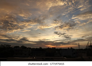 Landscape of beautiful clouds in the morning evening sky before sunrise sunrise.