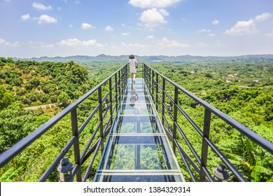 Landscape Of Beautiful Mountain Views From The Glass Made Observation Deck With Symmetry Reflection At Dongshan Discrict, Tainan, Taiwan