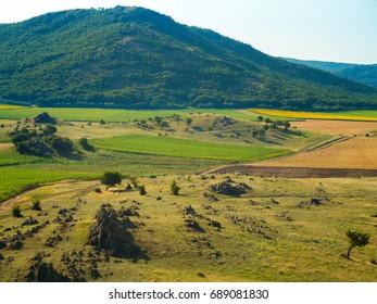 landscape with beautiful sky in Dobrogea Romania