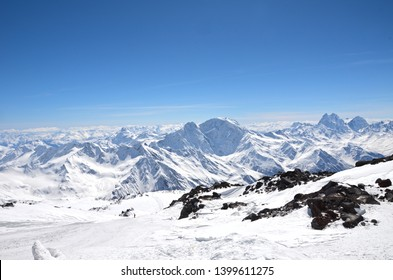Landscape of beautiful slopes of the Caucasus Mountains, Elbrus