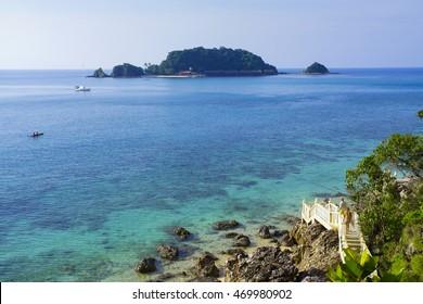 Landscape of beautiful tropical beach at Kapas Island, Malaysia