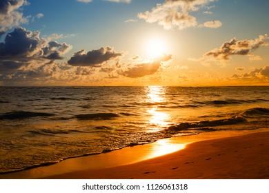 Landscape of beautiful tropical beach in Phuket, Thailand. Sunrise shot