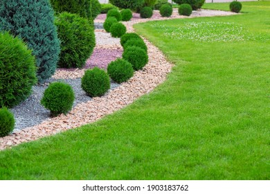 Landscape bed of garden with wave ornamental growth cypress bushes gravel mulch by color rock way on a day spring park with green lawn meadow, nobody.
