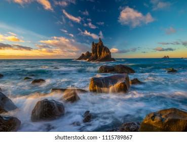 landscape of Benijo beach at sunset in Tenerife,art photography