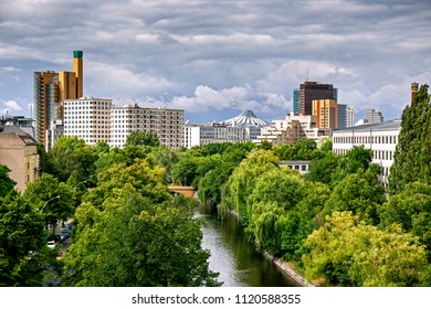 Landscape of Berlin with the banks of Landwehr canal, State Park and Potsdamer Platz in the distance, Berlin, Germany