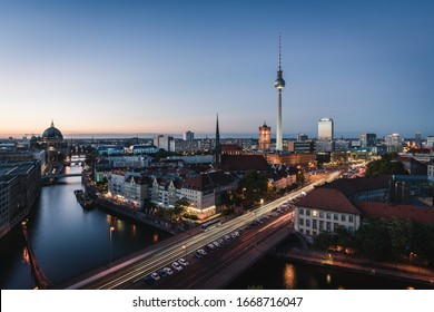 Landscape of Berlin city skyline, aerial view of the Berlin television tower at night