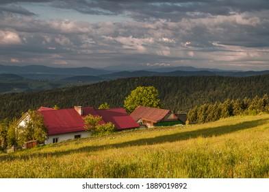 Landscape of Beskid Wyspowy view of a fragment of the Łososiński Range. - Shutterstock ID 1889019892