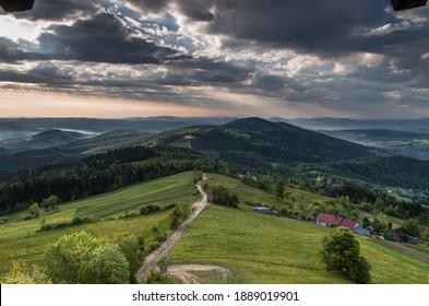 Landscape of Beskid Wyspowy view of a fragment of the Łososiński Range. - Shutterstock ID 1889019901